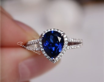 7*9mm Pear Lab Sapphire Ring Sapphire Engagement Ring/ Wedding Ring 925 Sterling Silver Anniversary Ring Promise Ring