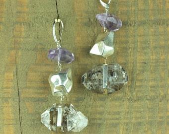 Herkimer Diamond and Amethyst Edgy Chunky Earrings