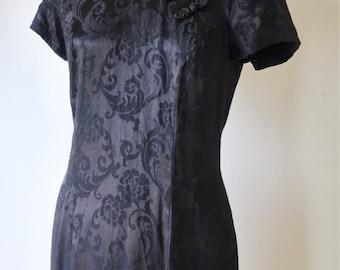 Vintage 90s Cheongsam black dress