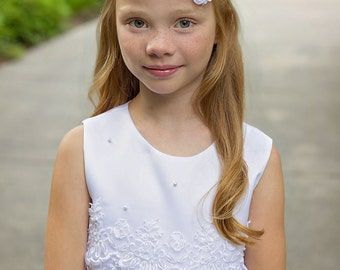 White Pearl Headband, Flower Girl Headband, Silver White Headband, Rhinestone Bridal Headband, Forehead Headband, White Wedding, Teen, Adult