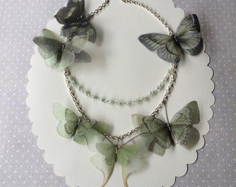Handmade Silk Organza Fabric Butterflies Moths Luna Moth Necklace Choker in Sage Green with Glass Beads, Statement Necklace - One of a Kind