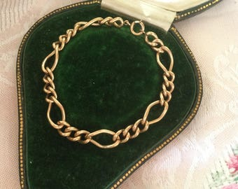 Antique Victorian vintage Gold Charm Bracelet Curb chain with 6 larger links for Charms