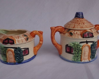CREAMER and SUGAR ~  Japanese house with Thatch Roof, cute, small set, Made in Japan