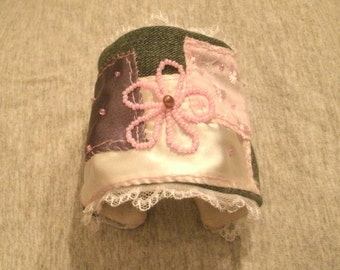 Denim and Lace Romantic Hand Beaded and Embroidered Fabric Cuff Bracelet