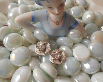 Sterling Silver & Rhinestone Screw-back Earrings, .925 Sterling Silver #406