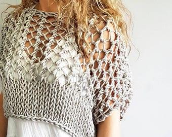 Knotty Crop Top - Festival crop, knit crop top, knitted chunky crop sweater, bikini cover up, summer sweater, summer tee, knit t-shirt