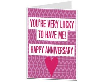 Anniversary Card. Anniversary Card For Husband Boyfriend. Anniversary Card For Wife Girlfriend. Funny Alternative Anniversary