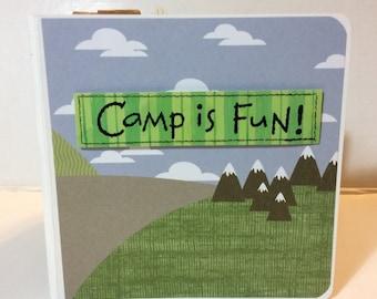 Camping  scrapbook- chunky 5x5 mini album premade scrapbook hiking Boy Scouts summer camp