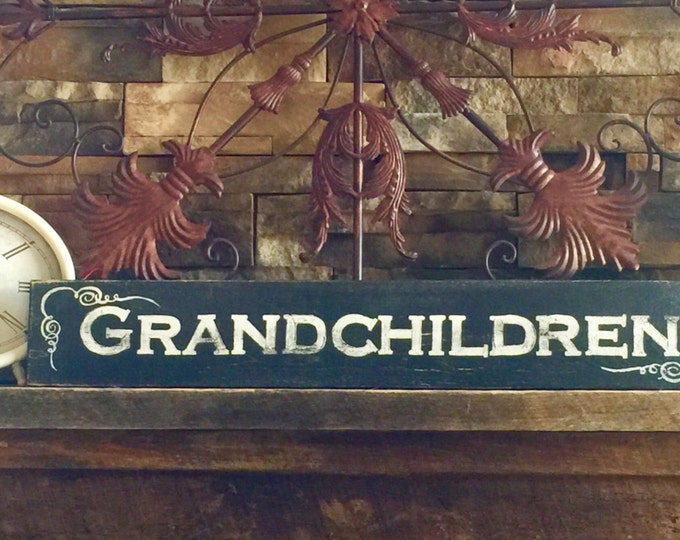 Grandchildren Sign. Gallery Wall Decor. Grandmother Gift. Grandparents Gifts. Family Signs Wood. Family Sign Home Decor. Rustic Wood Signs