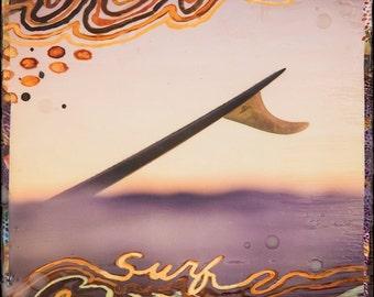 SURF WAVELENGTH, 8x10, 11x14, 16x20, Hawaii, Hand-Signed matted print, Ocean, wall art, Ocean Art, Blue, Longboard, surf fin, Surf, Sea