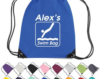 Personalised Swimming (Dive) Drawstring Bag. Sports Swim Kit Bag  * Free Delivery *
