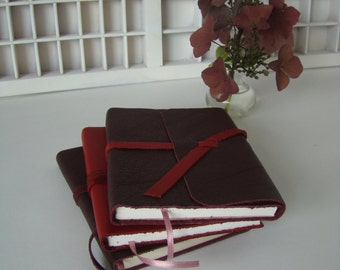 Handbook Red leather-Notebook leather cover-tied writing book-Red leather Cover