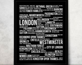 Typographic Poster With Text of London Streets - London Map Typography Poster Printable - Digital Download - London Print - JPG, PNG, EPS
