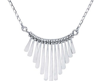 Sterling Silver Graduated Paddle Festoon Necklace