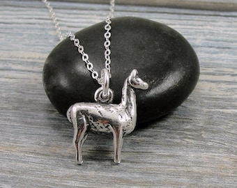 Llama Necklace, Sterling Silver Llama Charm on a Silver Cable Chain