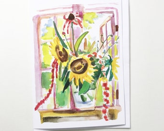 Sunflower bouquet, 5x7 card, Ready to Ship greeting card