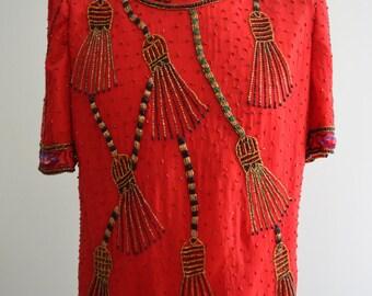 LAURENCE KAZAR Tassel Sequined Evening Tassel Red Top Blouse Size XL Gold Red Black