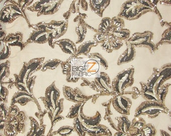 Fashion Desire Floral Sequins Fabric - COFFEE/BLACK - Sold By The Yard DIY Dress Decor Accessories Bridal