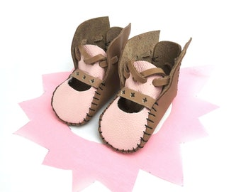 Brown / Pink Leather Baby Shoes & Moccs