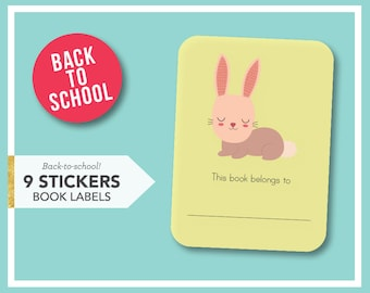 Back to school - 9 book stickers - Rabbit bookplate labels