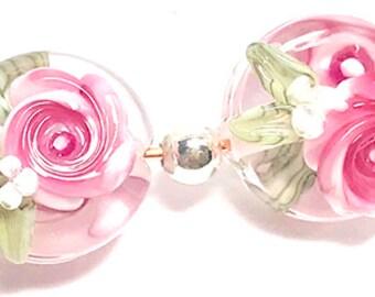 First Bloom, handmade lampwork beads, pair