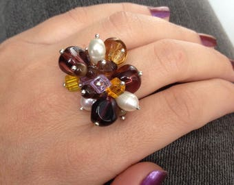 Stones ring, colorful ring, modern ring, original ring, contemporary ring, Murano Ring