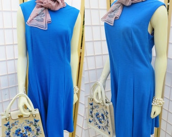 Vintage 1960s blue mad men dress/ blue princess seam dress/ vintage day dress/ blue vintage dress/ blue sleeveless dress/ blue summer dress
