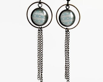 Earrings dangle earrings, Aztec turquoise blue, trendy and modern, glass cabochon