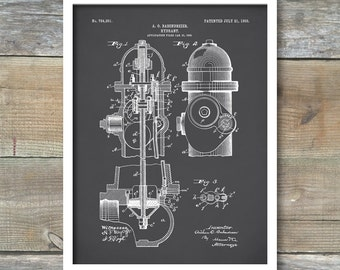 Fire Hydrant Patent, Fire Hydrant Poster, Fire Hydrant Blueprint, Fire Hydrant Print, Fire Hydrant Art, Fire Hydrant Décor, P200