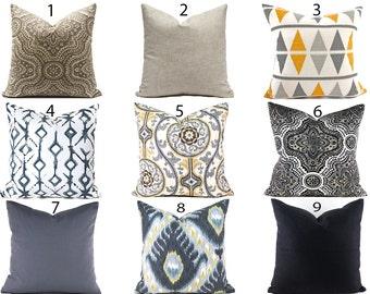 Pillow Covers Decorative Pillows ANY SIZE Pillow Cover Black Pillows Grey Pillows You Choose
