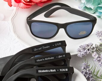 Personalized Black Sunglasses - Bulk Sunglasses - Custom Glasses - Bachelorette Sunglasses - Sunglass Wedding Favors (6792CS)