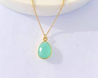 Aqua Chalcedony Drop Necklace - Chalcedony Necklace - Pendant Necklace