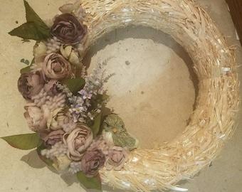 Purple Floral Bird spring wreath