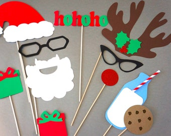 Santa's Cookies and Milk Photo Booth Props - 3D Photo Props - 11 piece set - GLITTER Photobooth Props - Santa and Rudolph - Cookies and Milk