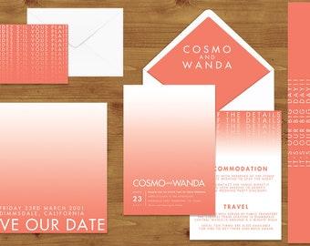 Modern Gradient Wedding Invitations Stationery Set - Printed or Digital Download - Coral Wedding - Modern Wedding - Wedding Printable