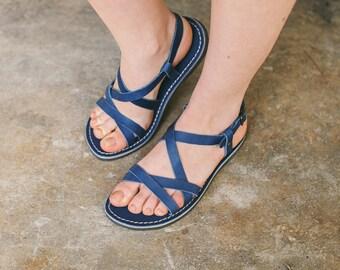 Summer Sandals, Strappy Gladiator Sandals, Strap Sandals, Boho Sandals, Summer Sandals, Women's shoes, Dark Blue Sandals, Summer Flats