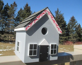 Grey Birdhouse, Handmade Bird House, Outdoor Wood Birdhouse,  Cute Birdhouse, Unique Birdhouse, Country Birdhouse