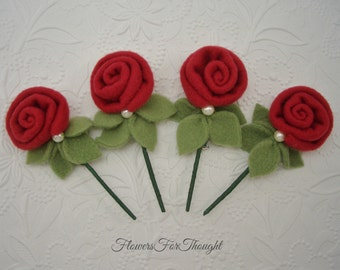 Red Felt Rose Boutonniere, Groomsmen Wedding Flower, Mens Buttonhole Bloom, 1 Lapel Pin