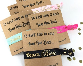 Team Bride Hair Ties | Bachelorette Party Favors | Team Bride Favors | Elastic Hair Tie Favors | Bridesmaid Gift | Bachelorette Survival Kit