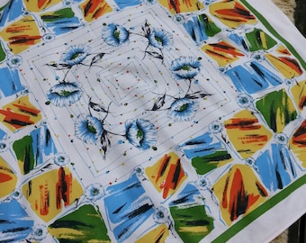 Retro Tablecloth. Midcentury Modern linen. Square tablecloth.