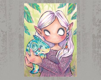Hello little one - Original ACEO, marker illustration