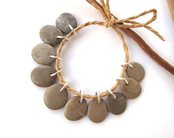 Rock Beads Small Mediterranean Natural Stone River Stone Jewelry Supplies Pairs BEIGE CHARMS 14-16 mm
