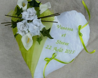 Wall art wedding ring cushion wedding lime green white heart shaped nature rustic ring bearer pillow, flowers, ivy leaves