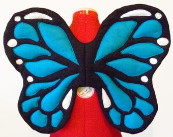Blue Monarch Butterfly Wings. Boy Play, Ballet, Party. Felt, No Wire. Original design.