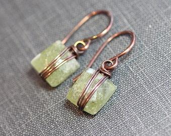 Green Garnet Earrings Wire Wrapped Green Gemstone Earrings Antiqued Copper Grossular Garnet Rustic Jewelry
