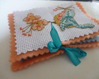 Needlecase, cross stitch, embroidery bird felt needleholder