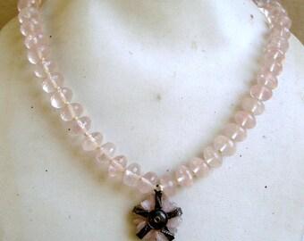 rose quartz gemstone faceted beads necklace chain strand rajasthn india