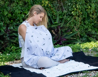 Pink organic  stylish nursing Cover + Bag- made from 100% organic cotton with stars print or origami print, baby gift, baby shower
