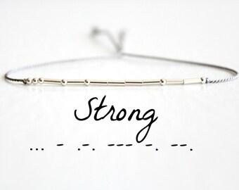 Inspirational Morse Code Bracelet Dainty Strong Morse Code Bracelet Motivational Jewelry Sterling Silver Silk Cord Bracelet