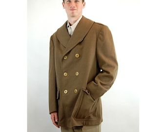 WWII Army Officers Overcoat 1942 wool coat double breasted olive green Size 39R